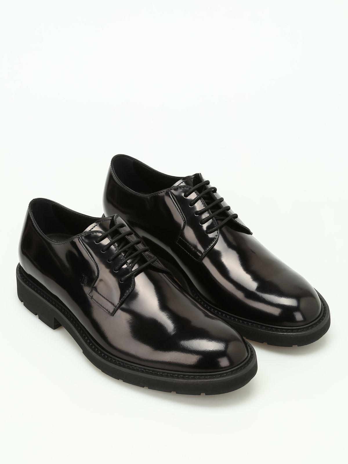 Tod's Brushed Leather Lace-up Shoes In Black