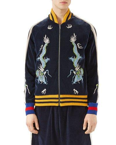 b283367d Gucci Dragon-Embroidered Cotton-Blend Bomber Jacket In Navy | ModeSens