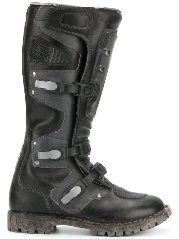 Balenciaga Rider Leather Moto Boot, Gray In Black
