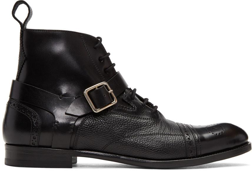 Alexander Mcqueen Panelled Leather Harness Brogue Boots In Black