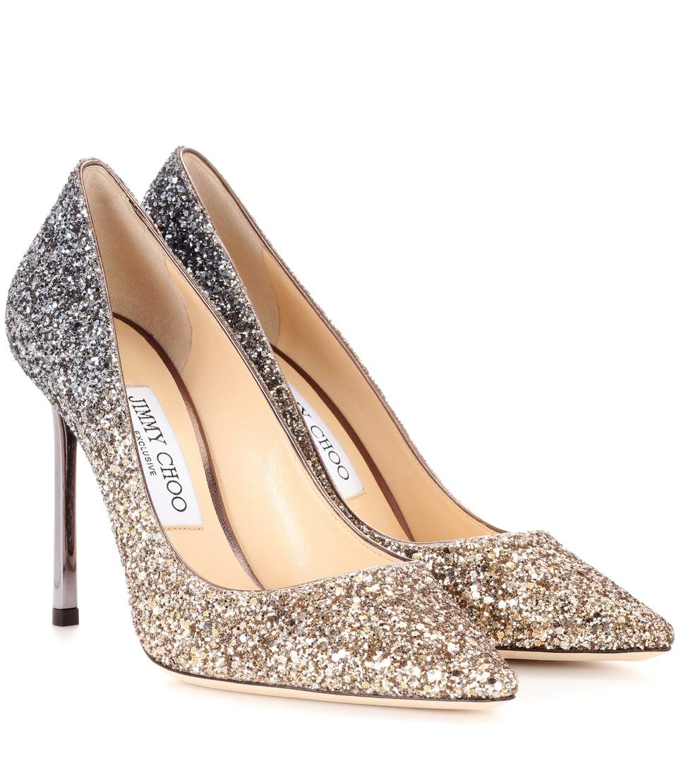 8afad02d97d4 Jimmy Choo Exclusive To Mytheresa - Romy 100 Glitter Pumps In Metallic