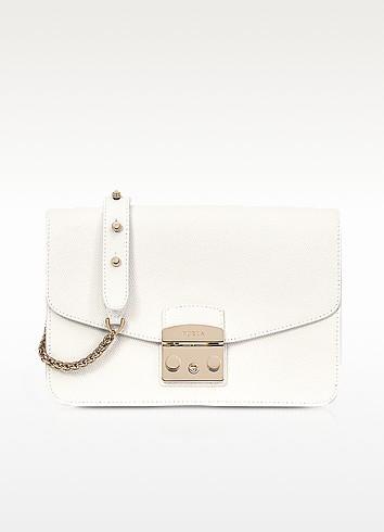 41268a173 Furla Small Metropolis Leather Crossbody Bag - White | ModeSens