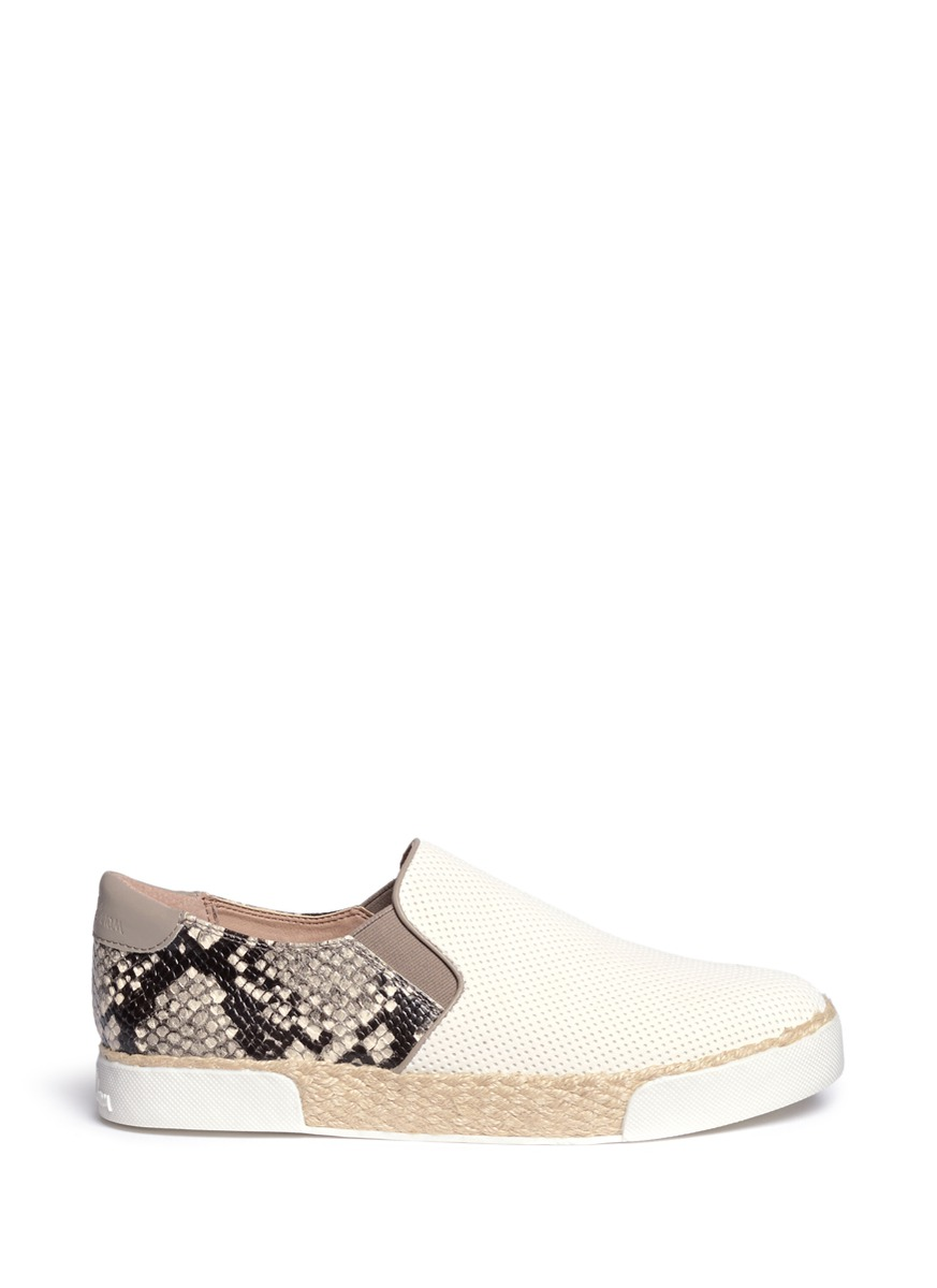 cbdfe3b03 Sam Edelman  Banks  Snake Print Perforated Espadrille Slip-Ons In Bright  White