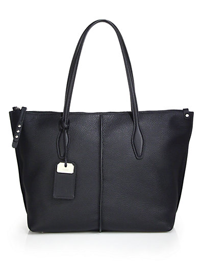 Tod's Joy Medium Leather Zip Tote In Black
