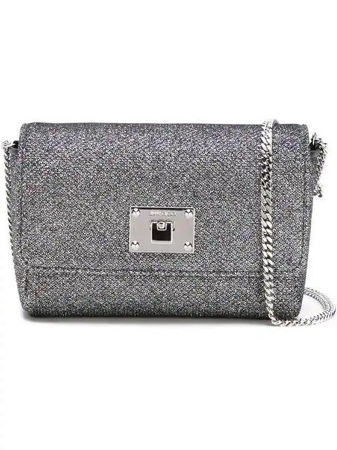 Jimmy Choo 'ruby L' Glitter LamÉ Crossbody Bag In Metallic