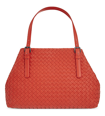 Bottega Veneta Intrecciato Medium A-shaped Tote Bag, Vesuvio Red