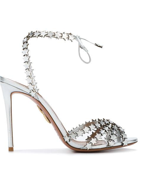 22ecac257 Aquazzura Silver Leather Starlight 105 Sandals In Metallic