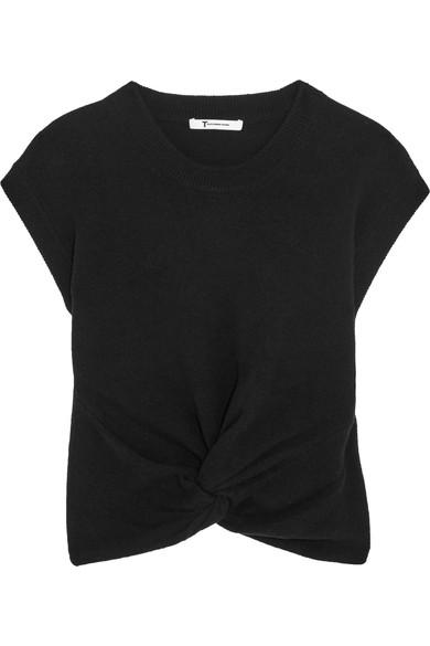Cropped Twist front Wool And Cashmere blend Sweater In Black
