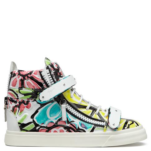 Giuseppe Zanotti Brushstroke-floral Leather High-top Sneaker, Petra/multi