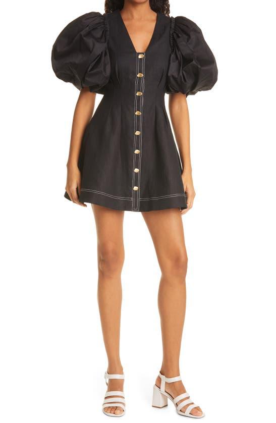Aje Quietude Puff Sleeve Linen Minidress In Black