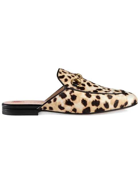 b7d6224fd408 Gucci Princetown Horsebit-Detailed Leopard-Print Calf Hair Slippers In  Neutrals