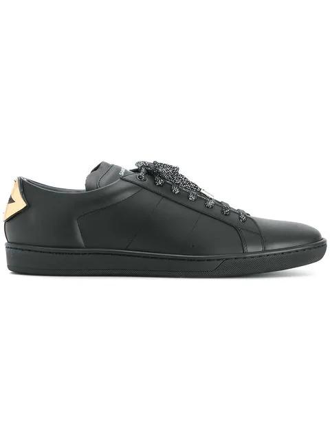 a8c05c2d1ca Saint Laurent Court Classic Low-Top Lips-Panel Leather Trainers In Black