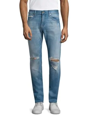 7 For All Mankind Paxtyn Distressed Skinny Jeans, Medium Blue In Outlaw