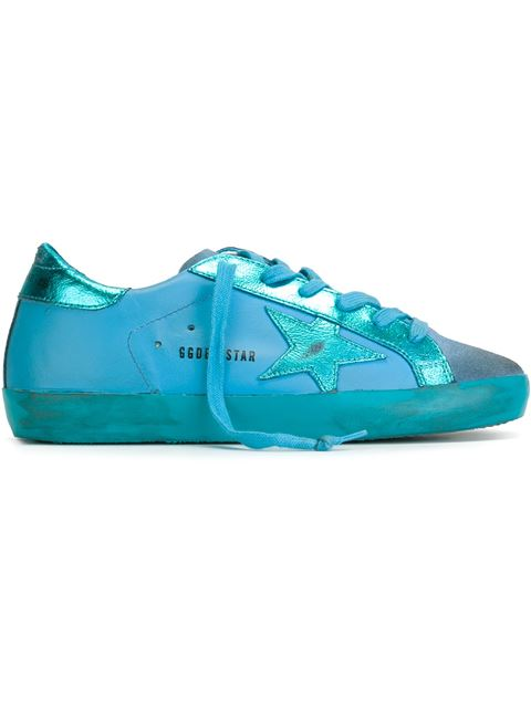 Golden Goose Turquoise 'super Star' Sneakers In Monochromaticturquoise
