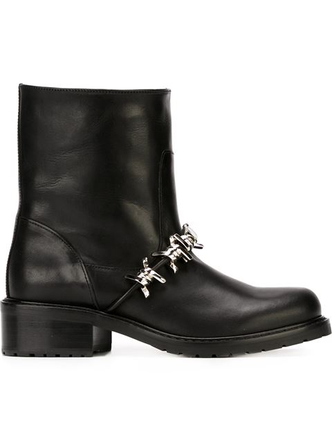 Dsquared2 50mm Barbed Wire Leather Biker Boots, Black