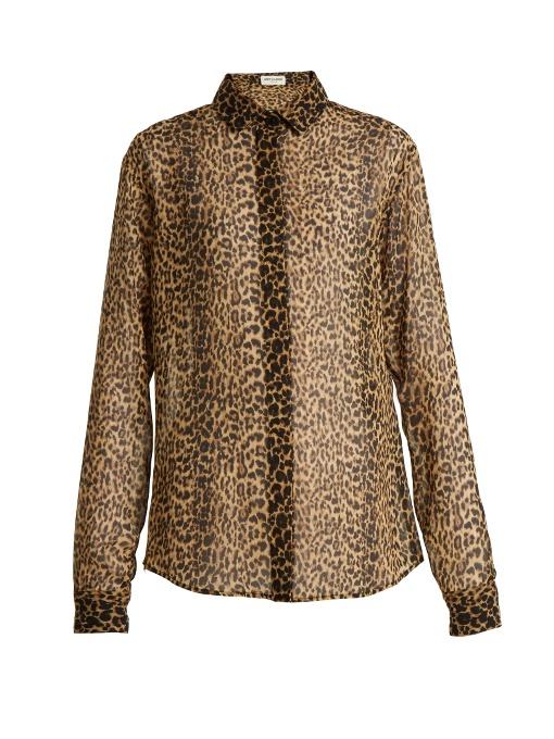 21ead246a2e056 Saint Laurent Leopard-Print Silk Blouse In Black