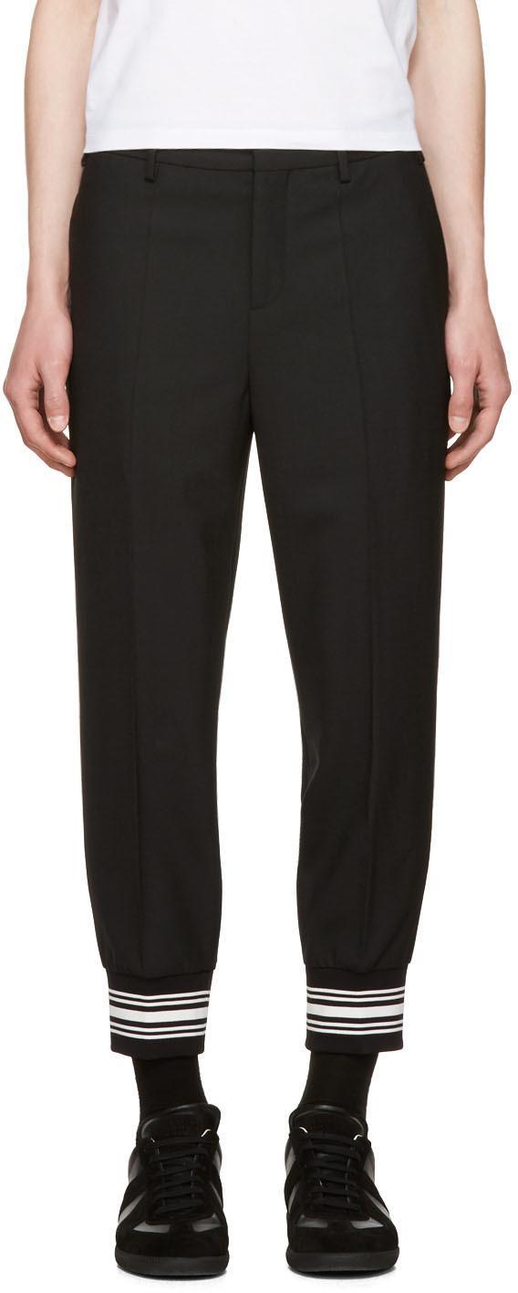 Neil Barrett Fine Gabardine Stretch Wool Pants In 01 Black