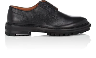Lanvin Lace-Up Grained-Leather Derby Shoes In Black