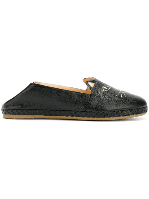 Charlotte Olympia Kitty Embroidered Textured-Leather Collapsible-Heel Espadrilles In Black