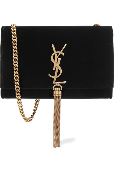 ecdfae22ec Saint Laurent Sunset Monogram Ysl Small Velvet Chain Crossbody Bag In Black