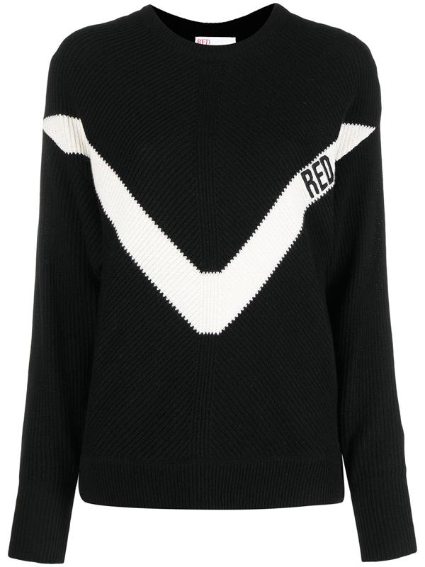 Red Valentino Redvalentino Contrasting Motif Knit Sweater In Black