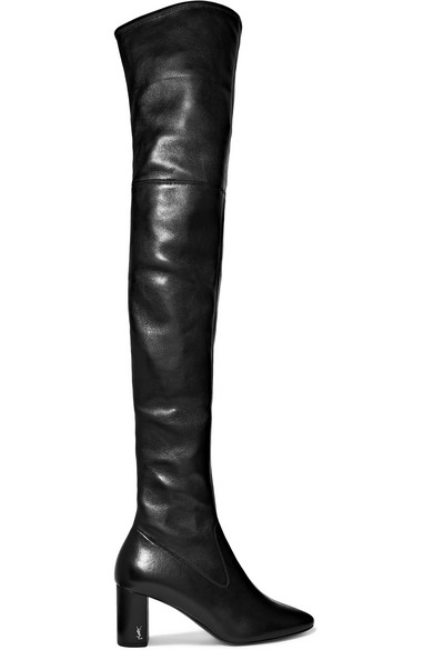 7d1857f53ff Saint Laurent Loulou Stretch-Napa Over-The-Knee Boot, Black | ModeSens
