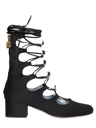 Chiara Ferragni 45mm Eyes Satin Lace-up Boots, Black