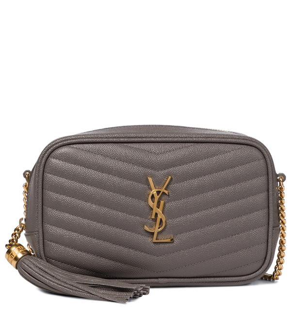 Saint Laurent Lou Mini Quilted Textured-leather Shoulder Bag In Gray