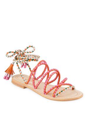 Antik Batik Dori Braided Ankle-Strap Leather Sandals In Orange Multi