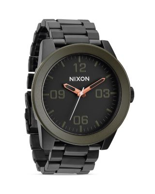 Nixon 'the Corporal' Bracelet Watch, 48mm In Matte Black/industrial Green