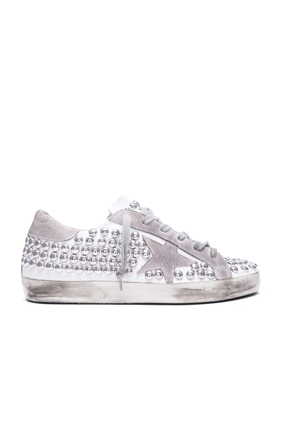 Golden Goose Super Star Embellished Metallic Leather Sneakers In Silver