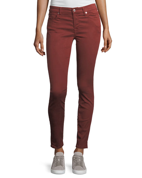 7 For All Mankind The Ankle Skinny Mid-Rise Cropped Jeans, Maroon In Bronze