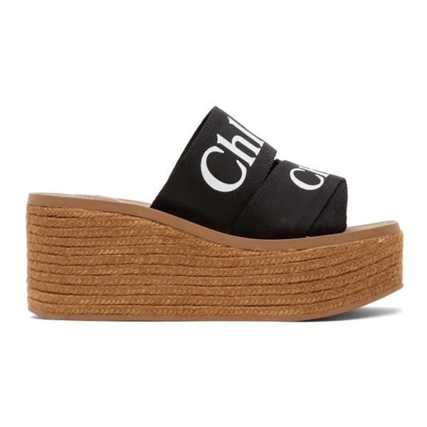 Chloé Women's Woody Espadrille Platform Wedge Mules In 001 Black