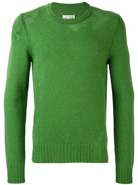 Maison Margiela Distressed Knit Sweater - Green