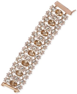 Givenchy Gold-Tone Silky Crystal Multi-Row Bracelet In Rose Gold