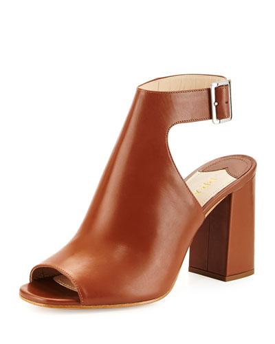 Prada Leather Ankle-Wrap Sandal, Nero In Brandy