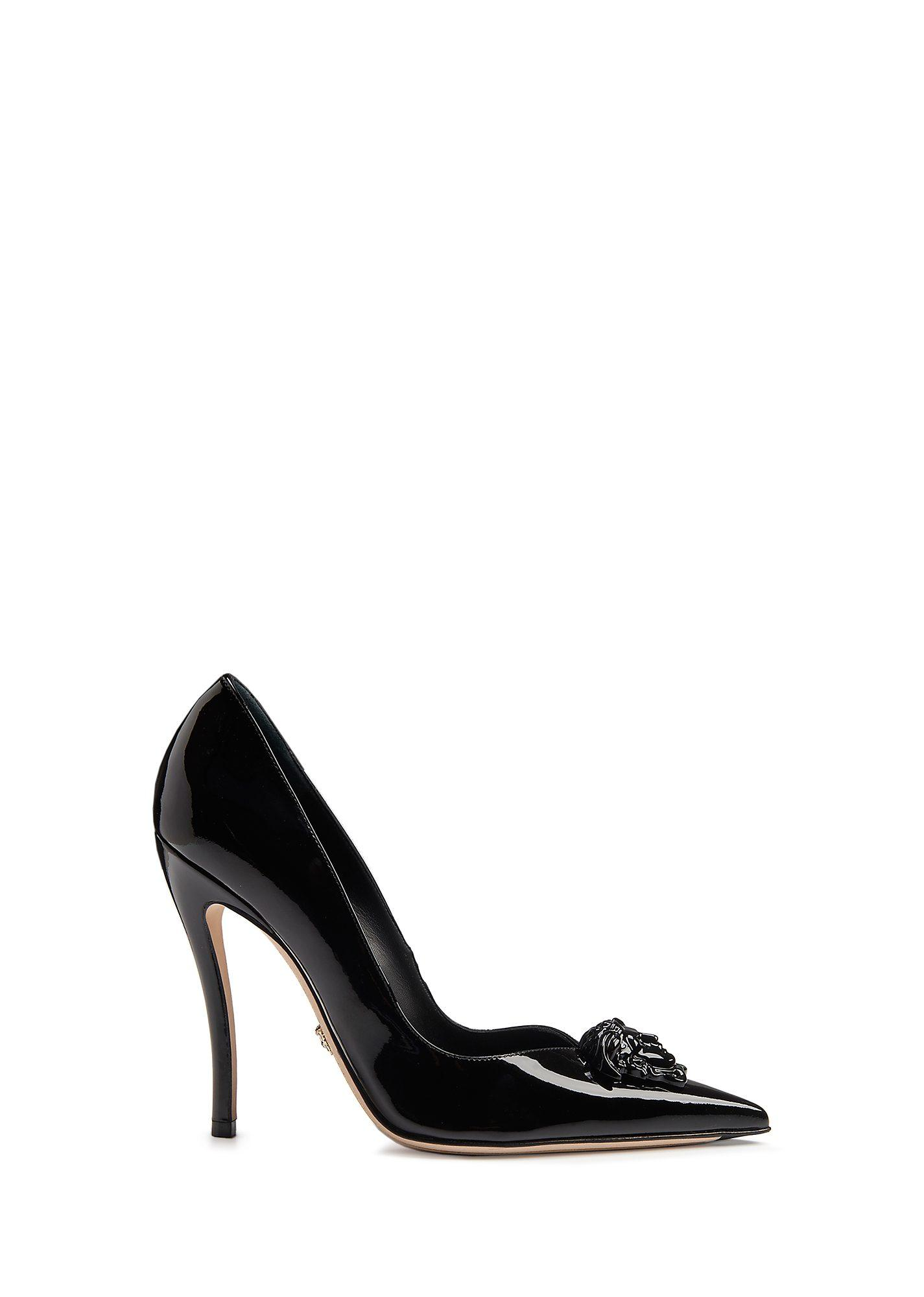 Versace Palazzo Patent Leather Pumps In Black