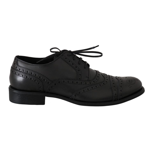 Dolce & Gabbana Gray Leather Wingtip Derby Formal Dress