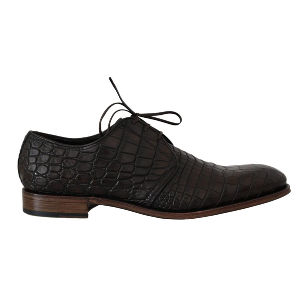 Dolce & Gabbana Brown Patterned Leather Dress Derby Shoes