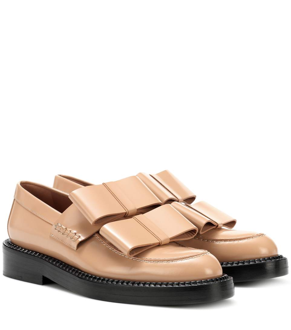 Marni Bow-Detail Leather Loafers In Beige