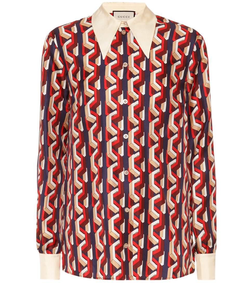 5e9323c8e Gucci Mini Web Chain Print Silk Shirt In Red | ModeSens