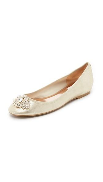 Badgley Mischka Bianca Embellished Evening Flats Women's Shoes In Platino