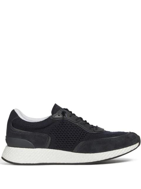 Ermenegildo Zegna Techmerino Panelled Sneakers In Blue