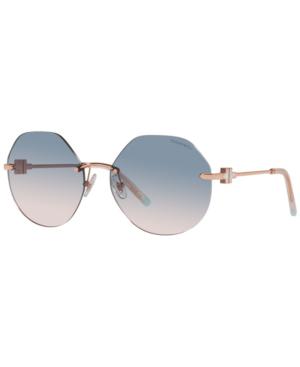 Tiffany & Co 60mm Irregular Rimless Sunglasses In Rose Gold