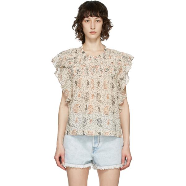 Isabel Marant Étoile Layona Ethnic Print Cotton Blouse In 23ec Ecru