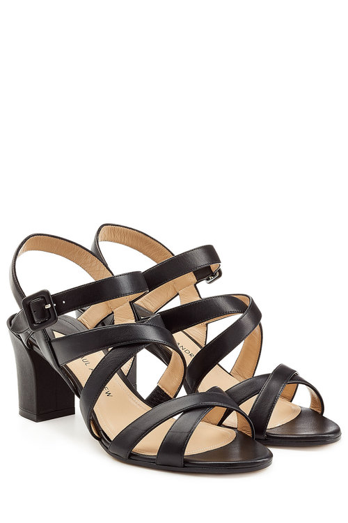 Paul Andrew Leather Sandals In Black