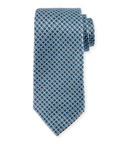 Ermenegildo Zegna Basketweave Neat Silk Tie In Blue