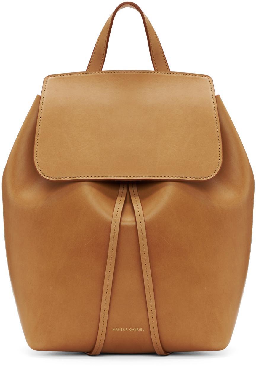 Mansur Gavriel Tan Leather Mini Backpack   ModeSens