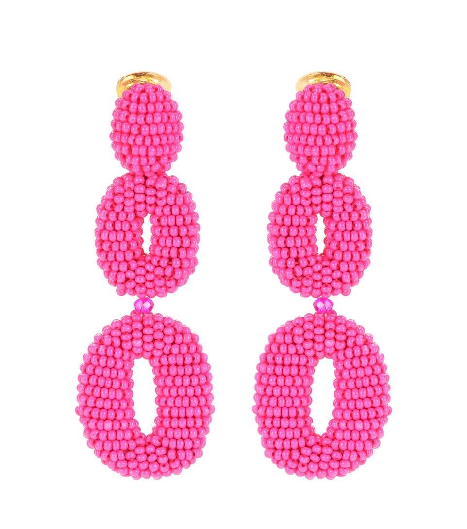 Oscar De La Renta Beaded Clip-On Earrings In Female