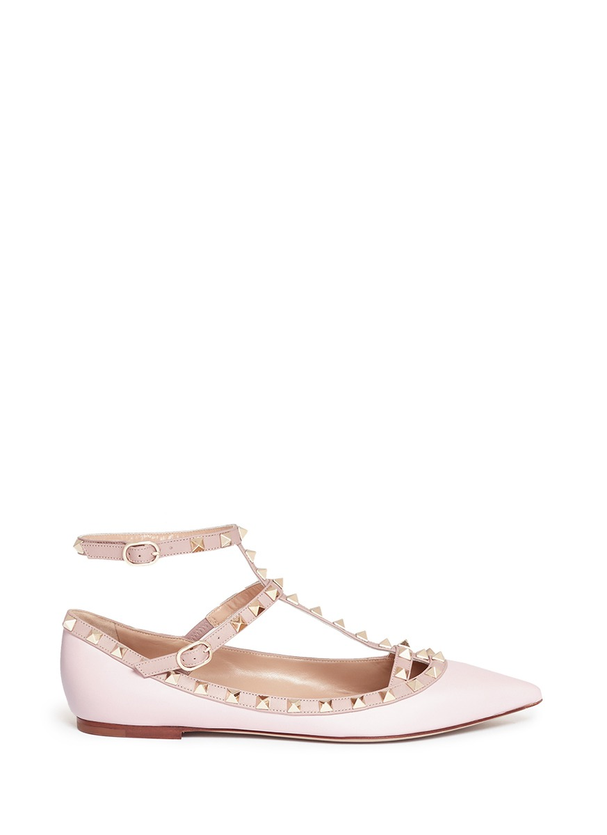 Valentino 'rockstud' Caged Leather Flats In Water Rose